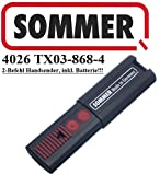 Sommer 4026 TX03-868-4, 2-channel 868MHz remote control. Top quality original remote. 100% compatible with Sommer 4020, Sommer 4031 and Sommer 4025