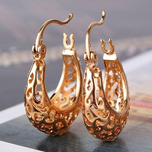 1pair Small Hoop Earrings for Women Hollow Out 18k Gold Plating Promise Wedding Snap Closure Hoop Earrings 18k Mesh Earrings