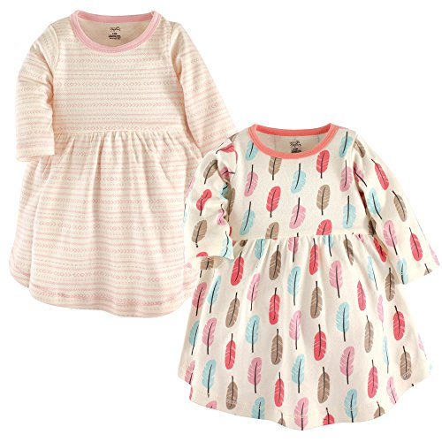 Touched by Nature Baby Girl Organic Cotton Dresses, Feathers Long Sleeve 2-Pack, 4 Toddler (4T)]()
