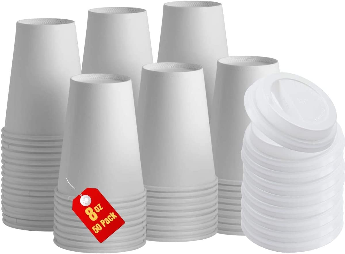 1InTheHome 8 oz Coffee Cups With Lids Disposable Paper Coffee Hot Cups (50 Cup & 50 Lids))