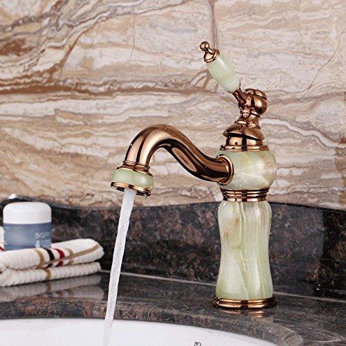 ANNTYE Waschtischarmatur Bad Mischbatterie Badarmatur Waschbecken Messing Warmes und kaltes Wasser Jade Antique Rosa Gold Badezimmer Waschtischmischer