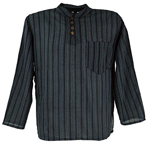 Nepal Fischerhemd gestreiftes Goa Hippie Hemd schwarz / Männerhemden/ Variante: