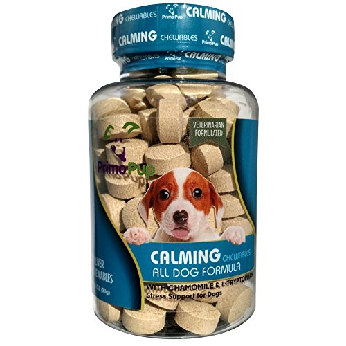 (Primo Pup Vet Health - Calming Chewables - Stress Support for Dogs with Chamomile & L-Tryptophan - Veterinarian Developed for Maximum Absorption - 90 Ct)