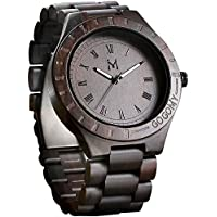Wooden Watches, Ebony Wood Watch Mens Analog Quartz Lightweight Wooden Wrist Watch with Luminous Pointers