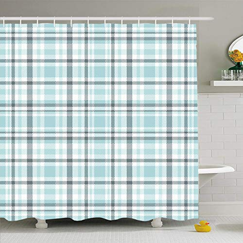 Ahawoso Shower Curtain 66x72 Inches Gray Border Tartan Plaid Pattern Light Blue Table Green Cerulean Check Checkered Flannel Gingham Waterproof Polyester Fabric Set with Hooks