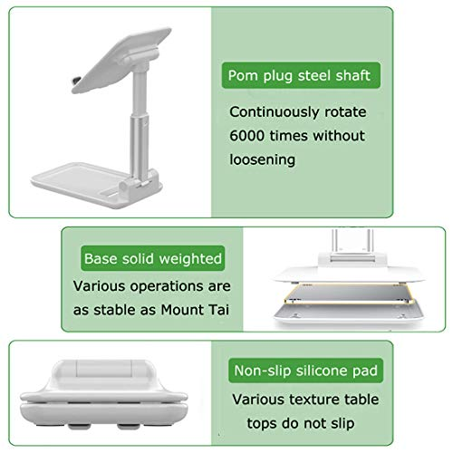 Beauty Nymph Cell Phone Tablet Stand Fully Foldable Adjustable Desktop Phone Holder Compatible with All Mobile Phones Tablet (White)