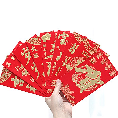 Pack of 24,New Year Chinese Red Monney Envelopes,Chinese Hongbao for lucky,3.3 x 6.3 Inches