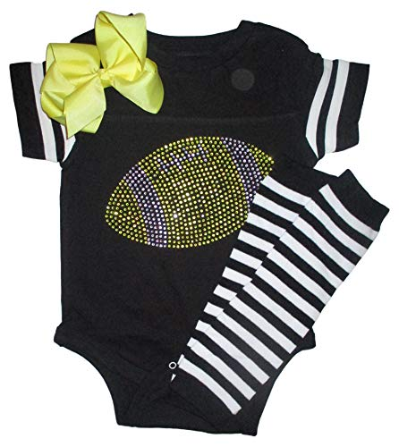 - FanGarb Rhinestone Infant Toddler Baby Girls Football Yellow & Black Team Color Outfit 6mo