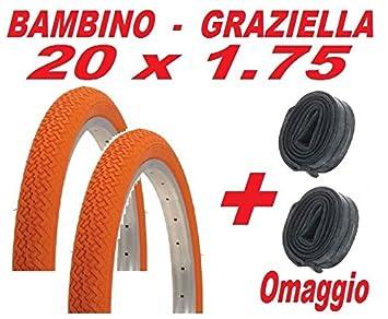 bd32f7e40a5 2 x 20 x 1.75 Wired Tyre Orange Bicycle Baby GRAZIELLA/2 x FREE TUBE ...