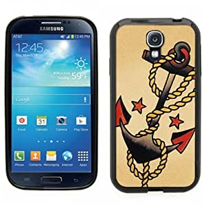 Samsung Galaxy S4 SIIII Black Rubber Silicone Case - Anchor Sailor Boat anchor tattoo style artwork