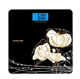 W-ONLY YOU-J Weighing Bathroom Scales/Electronic Weighing Scale/Digital LCD Body Golden Peony Flower Holiday Gift (high-end gifts)