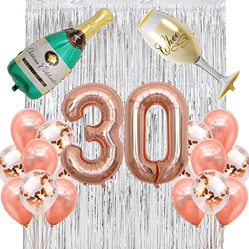 40 inch Jumbo Rose Gold 30 Number Balloons with Latex Balloons Champagne Bottle Flute Balloons Rose Gold Confetti Balloons Backdrop Silver Fringe Curtains 30th Birthday Party Anniversary Decorations]()