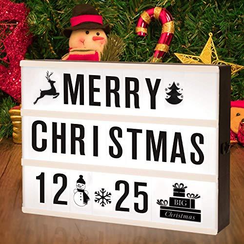 SUNNEST Caja de Luz A4 con 96 Letras y Emojis 80 Tarjetas de Fiestas Cartel Luminoso LED, Ideal para Decoracion y Regalo para Ninas, Ninos en Cumpleanos, Navidad
