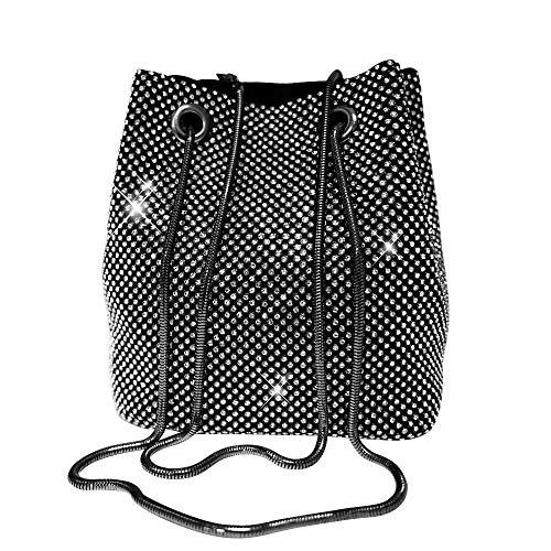Rhinestone Bucket - Women's Black Evening Bag- Full Rhinestones Mini Bucket Bling Crossbody Bag Shoulder Bag Handbag for Party Wedding Date Night