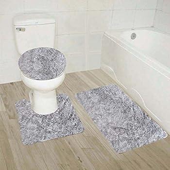 Amazon Com Lbzyssjt Silver Glitter 3 Piece Bathroom Rug