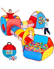 Kids Play Tent, 5 in 1 Pop Up Play Tunnel for Kid Toddler, Ball Pits Kid Tent Indoor Outdoor,Toys for 1 2 3 4 5 Year Old Boys Girls, Birthday Party, LEAMBE