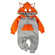 Bebone Hooded Fleece Romper For Baby Girls Boys Cartoon Animal Fox Jumpsuit(Orange,3-6m