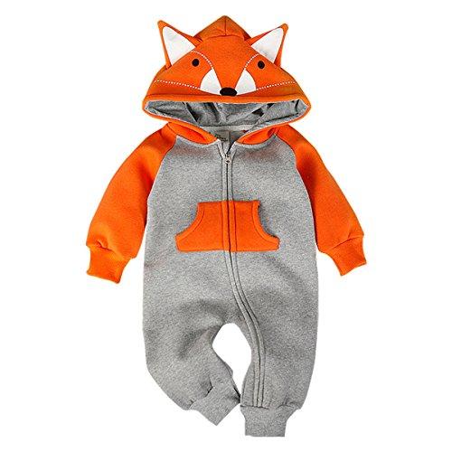 Romper Infant Fleece - Bebone Hooded Fleece Romper for Baby Girls Boys Cartoon Animal Fox Jumpsuit (0-3M, Orange)