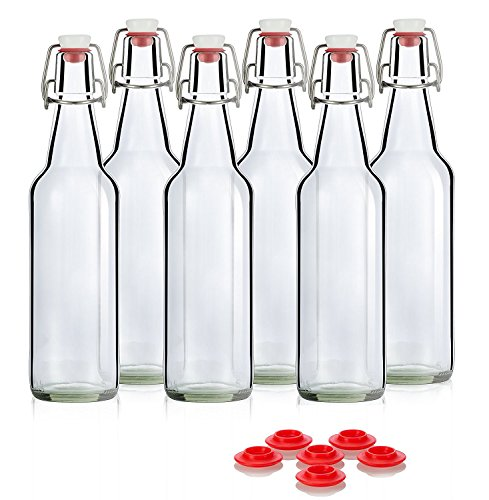 Swing Top Glass Bottles CERAMIC TOPS - Flip Top Bottles For Kombucha, Kefir, Beer - Clear Color 16oz Size - Set of 6 Brewing Bottles - Leak Proof With Easy Caps - Bonus Gaskets Quick Cleaning Design