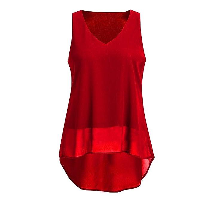 COGIGI Sexy Women Chiffon Summer Blouse V Neck Sleeveless Irregular ...