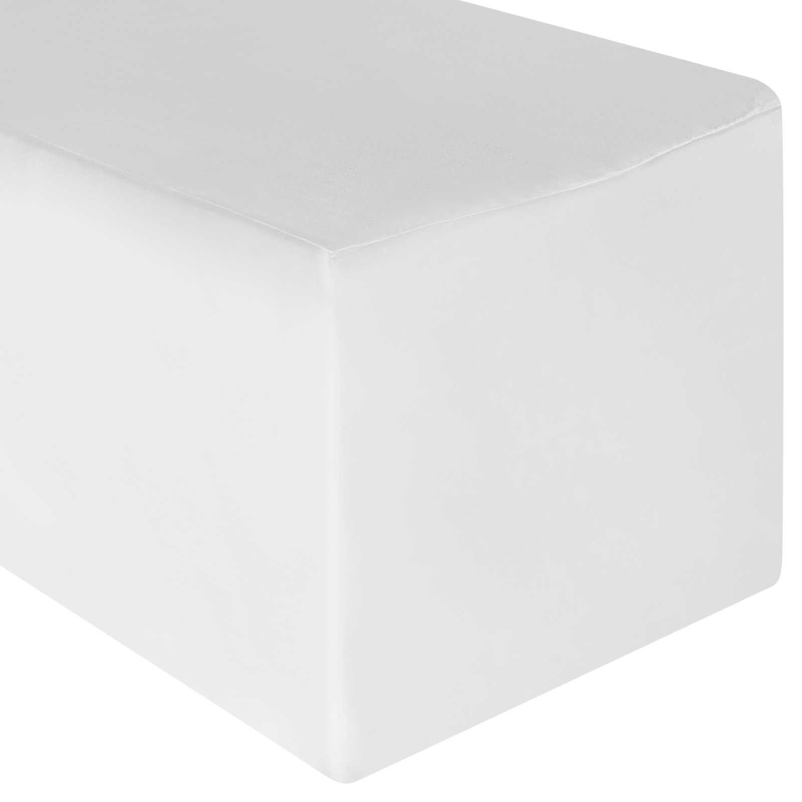Lann's Linens - 10 Pack of 8' Rectangular White Polyester Fitted Tablecloth Covers for Weddings, Banquets, or Restaurants (96'' x 30'')