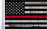 Pro Pad Sleeved 6''x9'' Grunge USA Firefighter Thin RED Line Motorcycle Flag