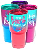 Beach is Calling Mermaid Travel Tumbler Cup | Hot and Cold  | Vacuum Insulated Stainless Steel | Pink Coral, Sea Foam Teal Dipped Ombre | Pink Lid | Fun Pretty Beach Life Theme Vacation Drink | Women For Sale