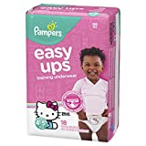 Pampers Easy Ups Pull On Disposable Training Diaper for Girls, Size 6 (4T-5T), Jumbo Pack, 18 Count