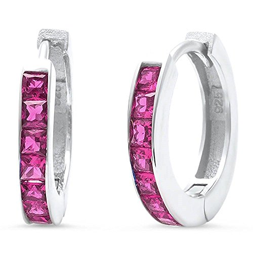 Hooop Earrings (14mm Hooop Huggies Earrings Half Eternity Princess Cut Simulated Red Ruby 925 Sterling Silver)