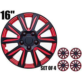 16 inch Hubcaps - RED and Black,