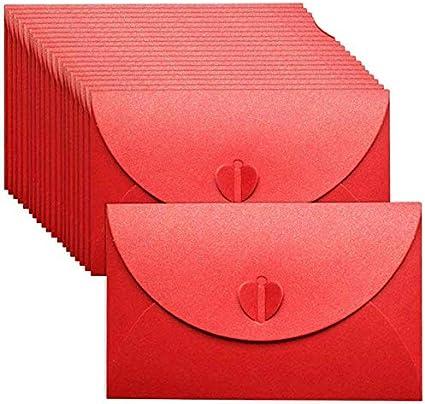 Regalos para Invitaciones Papel Kraft Con Cierre en Forma Coraz/ón Escritura 20 Piezas Sobres Papel kraft Rojo Postales