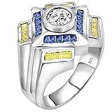 Anillo de diseño Sterling .925 de plata para hombres con una piedra central de zirconia blanca (CZ) de 1,75 quilates rodeada de 36 piedras de baguette canario azul y claro (CZ)