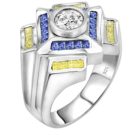 Century Crystal Twelve Light (Men's Sterling Silver .925 Designer Ring Featuring a 1.75 Carat White Cubic Zirconia (CZ) Center Stone Surrounded by 36 Blue and Light Canary Baguette (CZ) Stones)