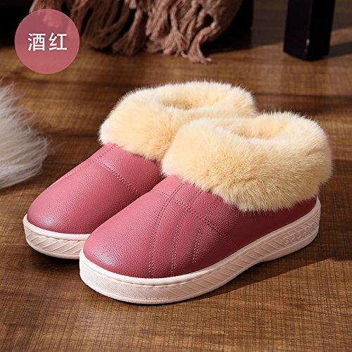 DogHaccd pantofole,Pelle pu Impermeabili di cotone invernale pantofole pacchetto con le coppie home soggiorno anti-slittamento spesso caldo inverno pantofole uomini e donne,Il vino è di colore rosso34