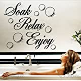 Newsee Decals Soak Relax Enjoy PVC Wall Sticker Decal Home bathroom Background Decor Removable Black