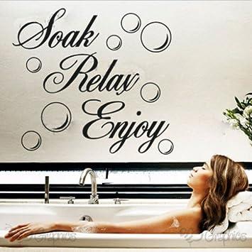 Soak Relax Enjoy PVC Wall Sticker Decal Home Bathroom Background Decor  Removable (1, WHITE