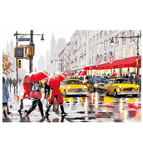 RYUANYUAN Walk Street Painting by Numbers Abstract Traffic Light Oil Painting On Canvas Car Decorative Picture Acrylic Wall Art 16x20 inch (40x50 cm) Unframed