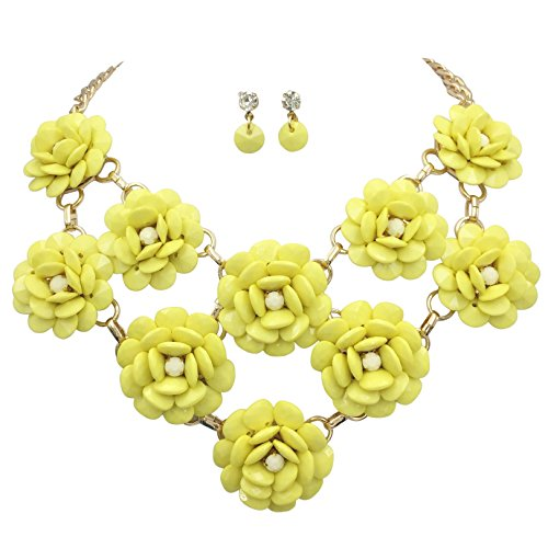 Flower Cluster Big Large Bib Trendy Statement Necklace & Earrings Set (Yellow) (Necklace Bib Drop)