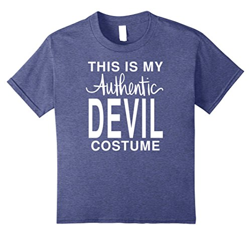 [Kids This Is My Authentic Devil Costume: Funny Halloween T-Shirt 12 Heather Blue] (Frat Boy Costumes For Girls)