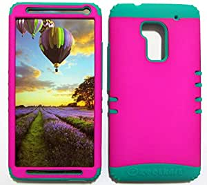 SHOCKPROOF HYBRID CELL PHONE COVER PROTECTOR FACEPLATE HARD CASE AND TEAL SKIN WITH STYLUS PEN. KOOL KASE ROCKER FOR HTC ONE MAX M6 NEON PEARL PURPLE BG-A006-AP