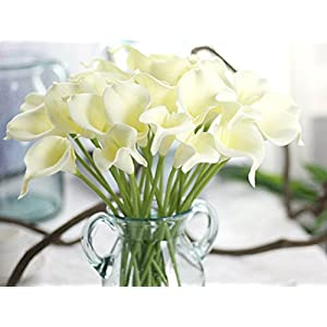 CL 10pcs Silk Artificial Fake Simulation Calla Lily Flowers Bouquet For Wedding Living Room Office Bar Garden Decor 61
