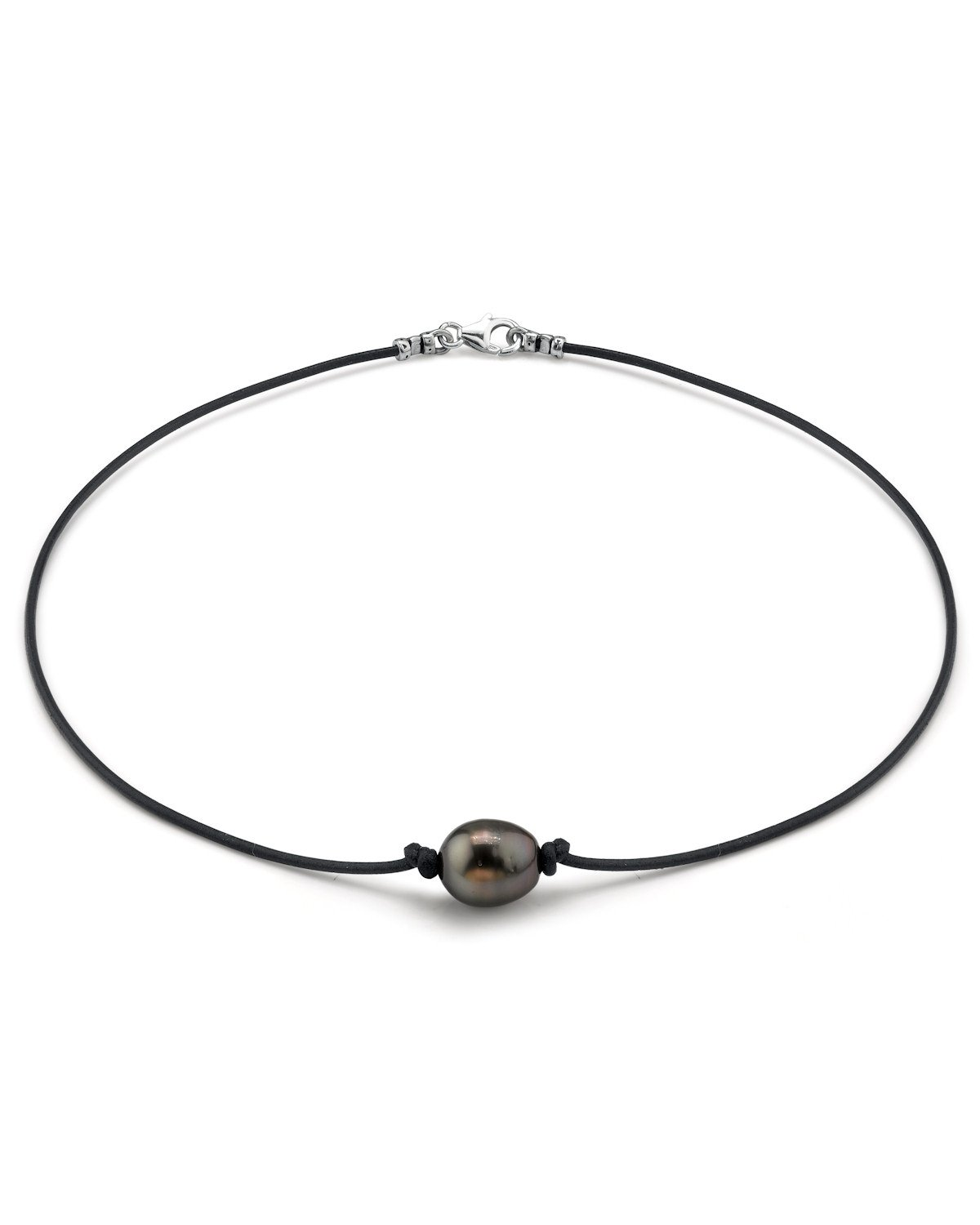 11-12mm Tahitian Baroque Cultured Pearl Leather Necklace