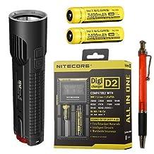 Nitecore EC4S 2150 Lumen Flashlight CREE XHP50 LED w/2x NL189 18650 Batteries & D2 Charger +8x FREE Eco-Sensa Premium CR123 Batteries