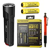 Nitecore EC4S 2150 Lumen Flashlight with 2X NL189 18650 Batteries and D2 Charger
