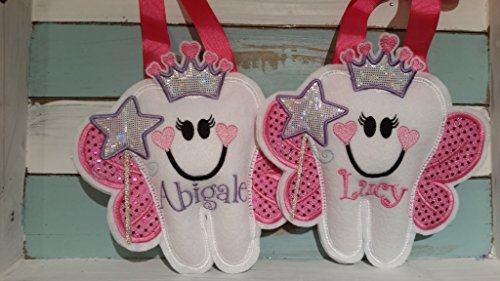 Personalized Tooth Fairy Pillow~ Princess Tooth Fairy Pillow with Heart Crown and Wand by Faith N Grace Tooth Fairy Pillows