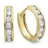 0.50 Carat (ctw) 14K Yellow Gold Round Cut Diamond Ladies Mens Unisex Huggie Hoop Earrings 1/2 CT