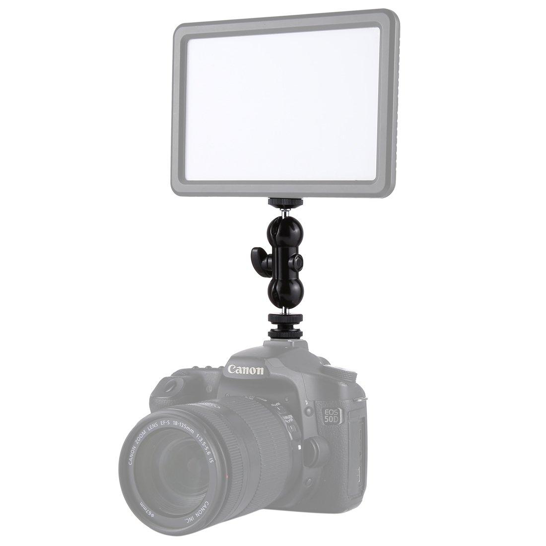 HEGUANGWEI Camera Mount Flash Hot Shoe Swivel Ball Head 1/4 inch Tripod Screw Magic Arm with Lock Photography by HEGUANGWEI