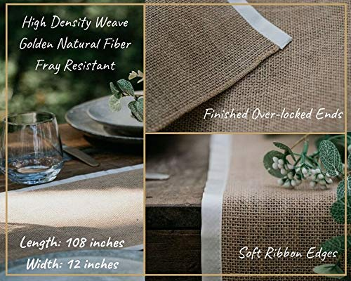 3 X Pack Burlap Table Runner - Natural Burlap Fabric Runner, Soft Ribbon Edging - 12 X 108 inch - Textured Jute Table Runners to Inspire a Rustic Relaxed Elegance for Dining, Farmhouse, Wedding - 🌿INSTANT RUSTIC SOPHISTICATION: No more boring, basic events with this perfect rustic table runner. They will warm up your festivities with a zesty energy and create a relaxed atmosphere with an earthy feel. 🌿PREMIUM DESIGN – THICK WEAVE/SEWN EDGES: Made from 100% natural fiber, the thick high density weave creates a durable and sturdy table runner. The edges are sewn with high quality soft ribbon which highlights the rich golden brown burlap fabric. The ends are finished in natural over-lock stitch making them fray-resistant. 🌿AMAZING VERSATILITY: Our burlap table runners are perfect for kitchen decor, rustic wedding decor, backdrops, centerpiece displays, dining table runner, fireplace mantels, holiday table runner, banquet tables, boho table runner, baby showers, farmhouse coffee table runner, burlap tree wrap, folded for a small table runner, family reunions, or a spacious farmhouse decor display. Let your creative juices flow - try adding flowers, garlands or candles for a focal point – relax and enjoy. - table-runners, kitchen-dining-room-table-linens, kitchen-dining-room - 515CsAcS2FL -