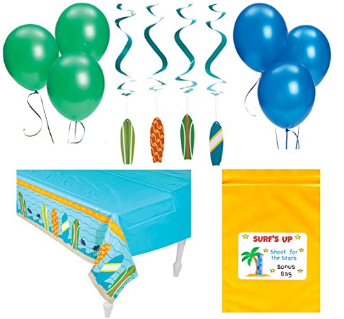Surfing Decorations Birthday Party Pack Bundle (1 Tablecover, 12 Hanging Surfboard Swirls, & 12 Balloons) Surf's Up -