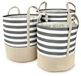 Gray Striped Cotton Canvas Nested Round Hampers, Set of 3 - Lg=17''Dx18''H